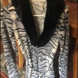 Cache animal print long belted sweater